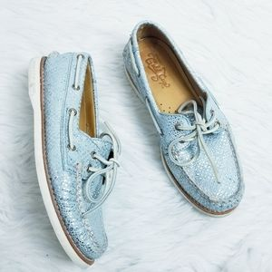 Sperry Gold Cup Metallic Light Blue Boat Shoes